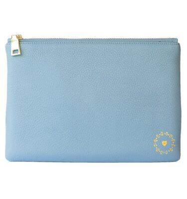 ILTN Signature Leather Clutch- Powder Blue