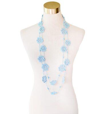 Fleurette Neckpiece - Pale Blue