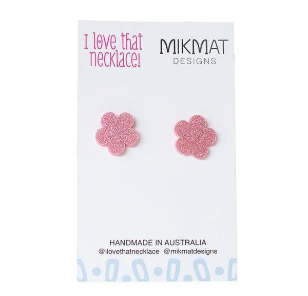 Flower Power Studs - Pink Glitter